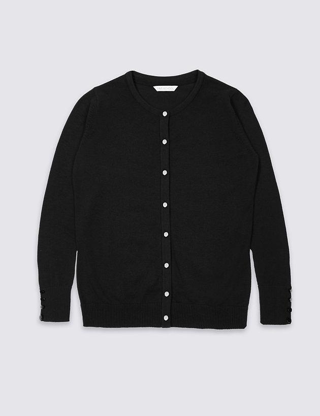 Senior Girls' Cotton Rich Button Cuff Cardigan