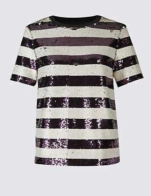 7e035f0dd4 Sequin Striped Short Sleeve T-Shirt