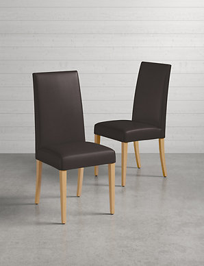 & Set of 2 Alton Brown Leather Dining Chairs | Mu0026S