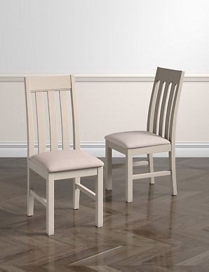 outlet store 97a62 82d08 Set of 2 Padstow Putty Fabric Dining Chairs