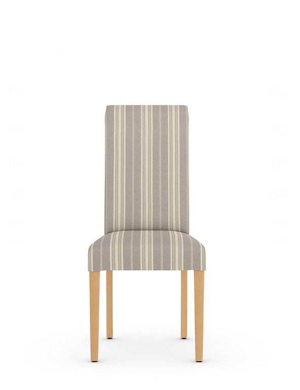 Set Of 2 Striped Fabric Dining Chairs M S