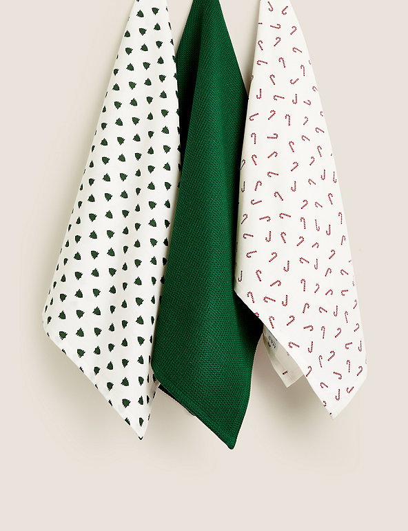 Set Of 3 Festive Fun Tea Towels M S