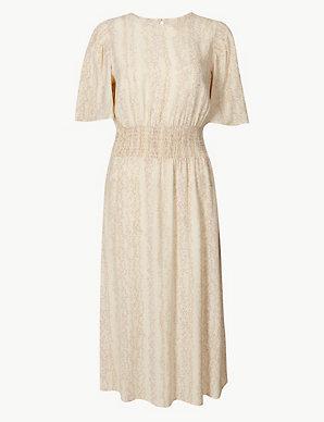 Shirred Shoulder Waisted Midi Dress