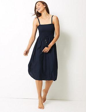 8dd1a624eac Shirred Swing Beach Dress