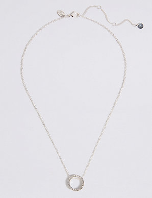 Silver Plated Simple Pendant Necklace M S Collection M S