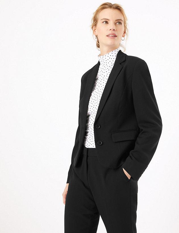 M/&S Tailored LINEN RICH Open Front BLAZER JACKET ~ Size 10 or 12 ~ BLACK