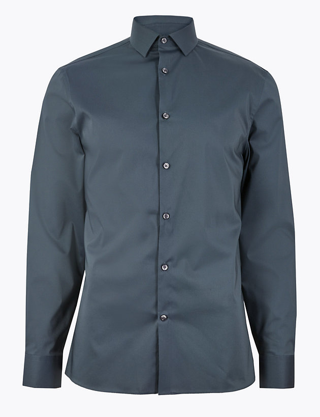 Skinny Fit Easy Iron Shirt with Stretch