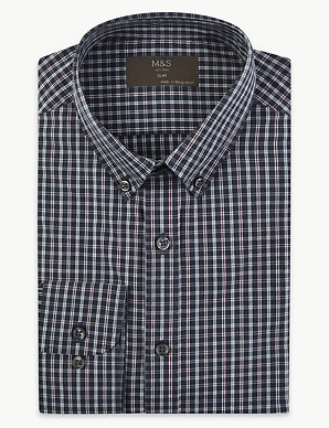 M/&S COLLECTION Navy Mix Cotton Blend Easy to Iron Slim Fit Shirt 15.5 or 16/'/'