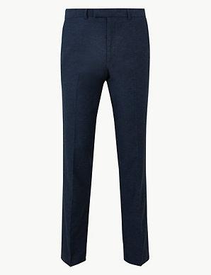 0fcb594e2c3 Slim Fit Linen Blend Flat Front Trousers