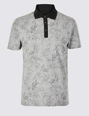 d383028b7f Slim Fit Pure Cotton Floral Print Polo Shirt