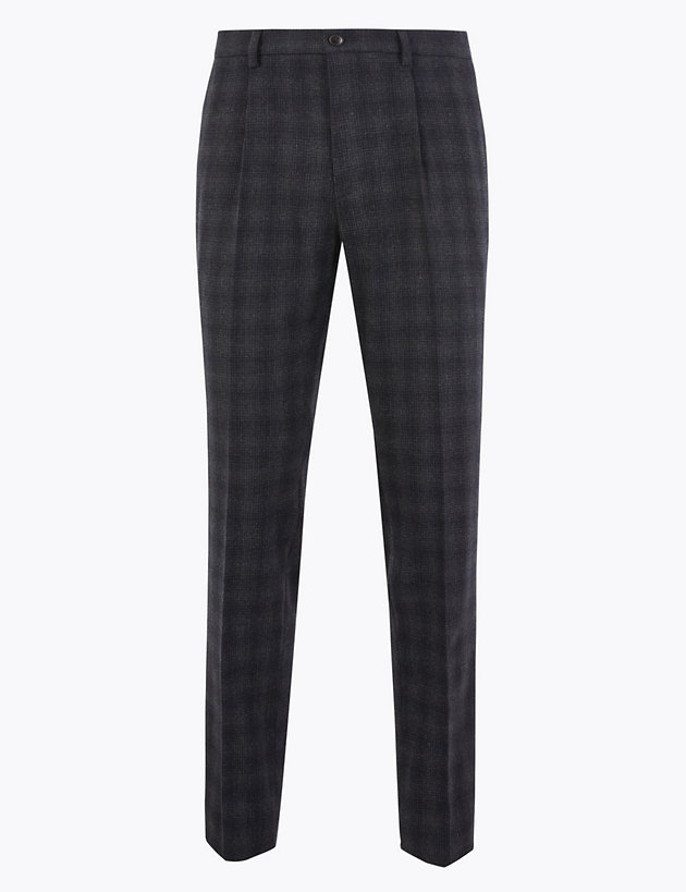 Slim Fit Wool Blend Checked Trousers