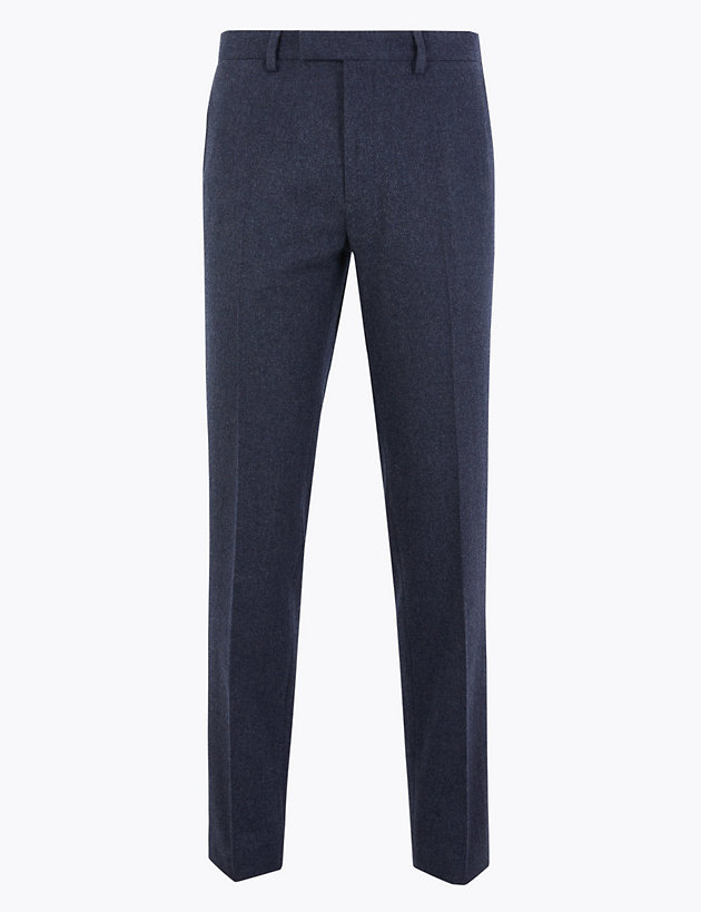 Slim Fit Wool Blend Flannel Trousers