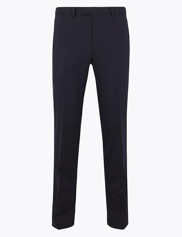 Slim Fit Wool Blend Stretch Trousers