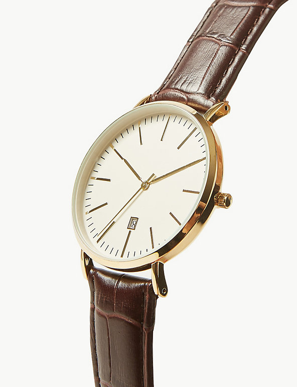 Slim Gold Croc Strap Watch