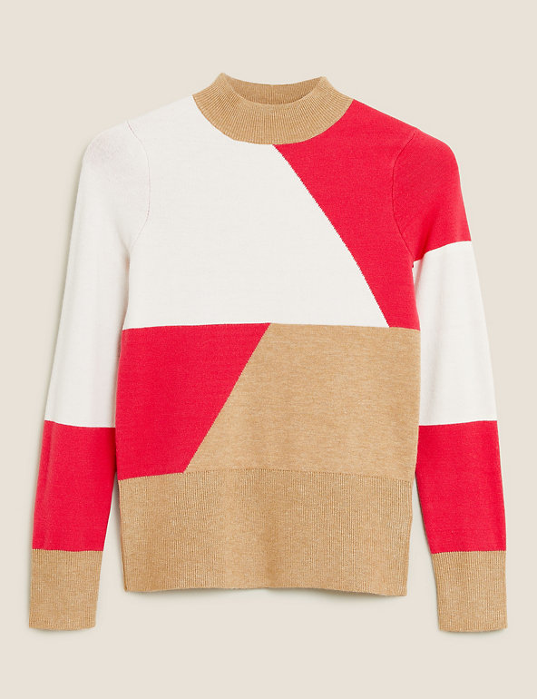 MARKS /& SPENCER  PER UNA COLOUR BLOCK FUNNEL NECK JUMPER WITH WOOL SIZE 16 BNWT