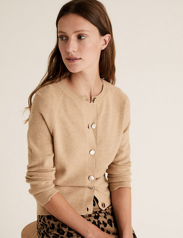 Soft Touch Crew Neck Button Front Cardigan | M&S Collection
