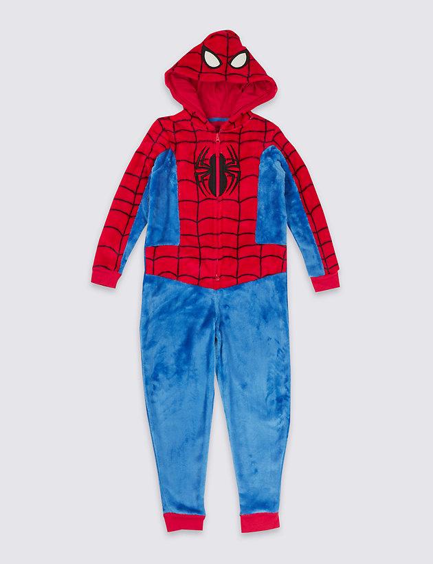 7//8 Boys MARVEL SPIDERMAN fleece onesie all-in-one 5//6 9//10 yrs Ages 4//5