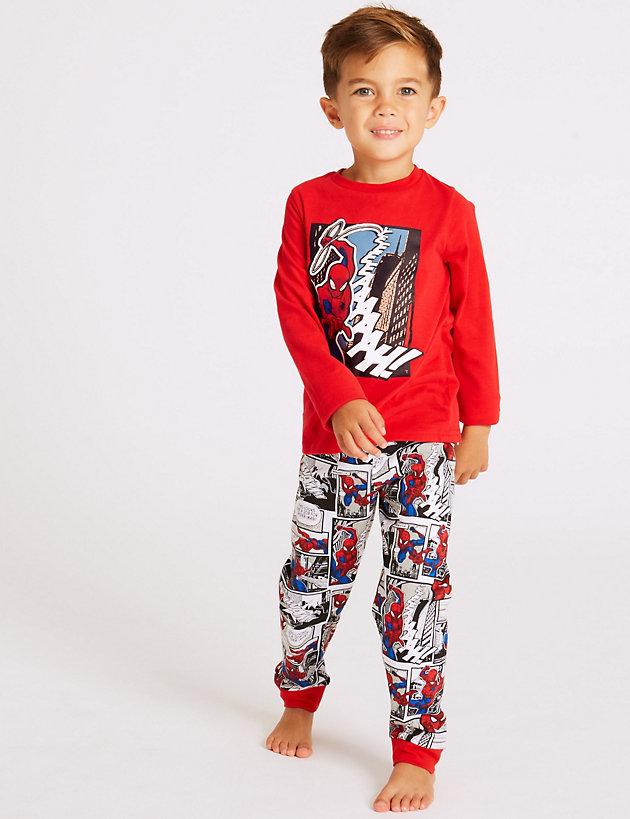 Jim Jams Boys Spider-Man Long Pyjamas Pjs Sizes 3 to 10 Years