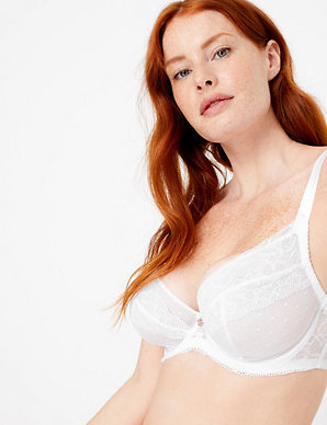 5677f44d09c46 Spot Mesh & Lace Non-Padded Plunge Bra DD-G | Rosie for Autograph | M&S