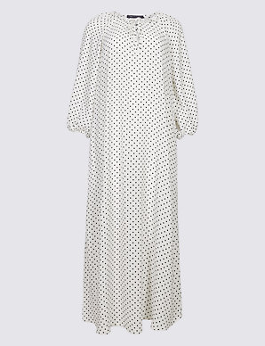 ad45fcd132e2 Spotted Long Sleeve Tunic Midi Dress | M&S Collection | M&S