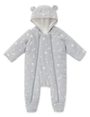 abd1d6946 Star Print Fleece Pramsuit   M&S
