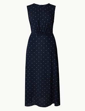 ab5825b5d Star Print Waisted Midi Dress | M&S Collection | M&S