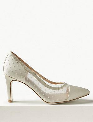 fe796ac59532 Stiletto Heel Mesh Spot Court Shoes   M&S Collection   M&S