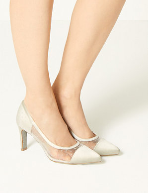 428f1e066a9 Stiletto Heel Mesh Spot Court Shoes
