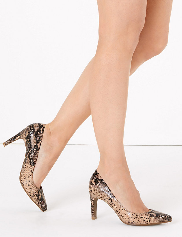 Womens Office Magnificent Pointed Court Heels Snake Heels