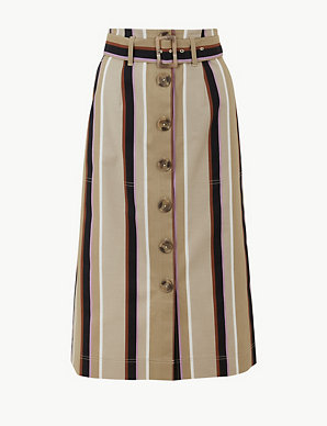 926216e13abbb6 Striped Fit & Flare Midi Skirt | M&S Collection | M&S