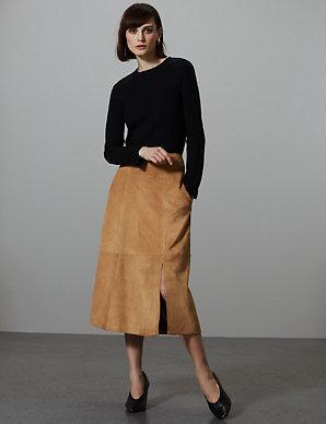 7112696853d4 Suede A-Line Midi Skirt | Autograph | M&S