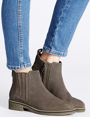 82fac082f1611 Suede Block Heel Crepe Sole Ankle Boots