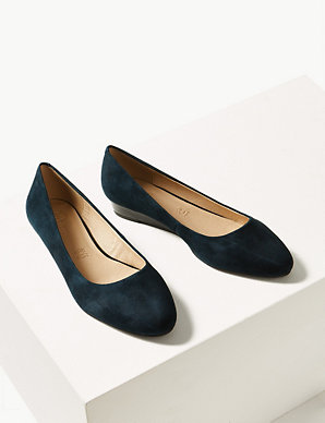 21517fdf4 Suede Wedge Heel Court Shoes | M&S Collection | M&S