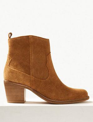 d53f65d6feb Suede Western Ankle Boots