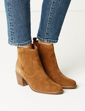 0fbd22ec62f Suede Western Ankle Boots