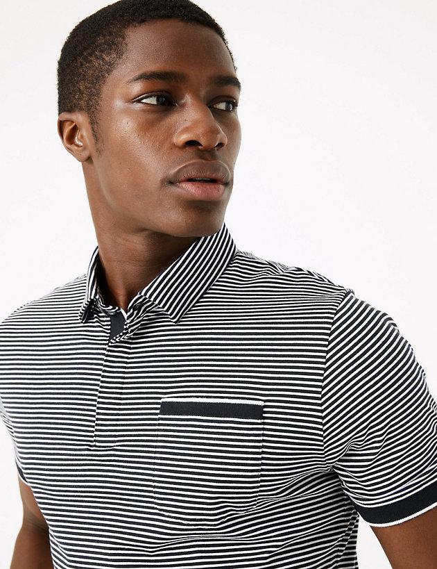 M/&S AUTOGRAPH Supima Cotton TAILORED FIT Striped POLO SHIRT ~ Size L ~ NAVY Mix