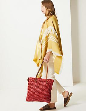 e5fb60eeba35 ... Straw Zipped Detail Shopper Bag