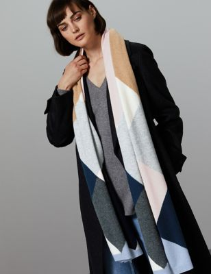 Pure Cashmere Colour Block Scarf by Tracked Express Delivery: