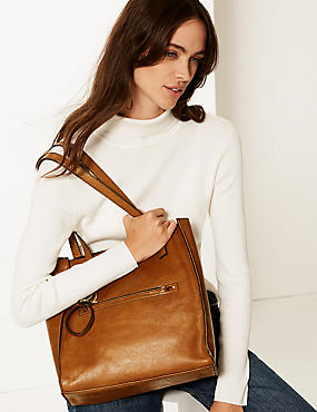 be5135176c Leather 3 Compartment Tote Bag Leather 3 Compartment Tote Bag