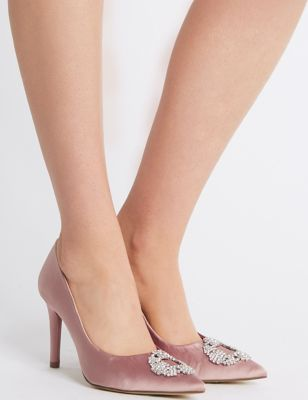 Stiletto Heel Jewel Pointed Toe Court Shoes by Tracked Express Delivery: