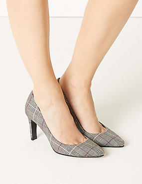 ff0cb66d6d21 Stiletto Heel Checked Pointed Court Shoes Stiletto Heel Checked Pointed  Court Shoes