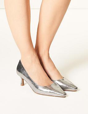 7114b07078e Wide Fit Kitten Heel Court Shoes