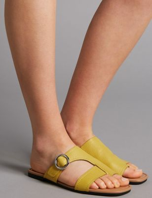 Leather Toe Loop Ring Mule Sandals by Marks & Spencer