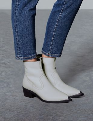 Leather Block Heel Metal Toe Ankle Boots by Tracked Express Delivery: