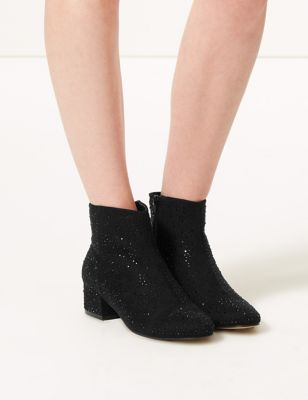 Block Heel Side Zip Ankle Boots by 35 Days To Return