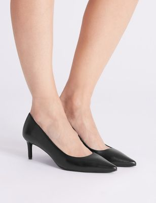 Leather Kitten Heel Court Shoes by Tracked Express Delivery:
