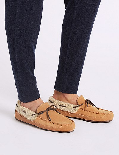 b4e5adcff57 Suede Moccasin Slippers with Freshfeet™