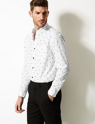 Bee Print Shirt With Pocket Marks Spencer London
