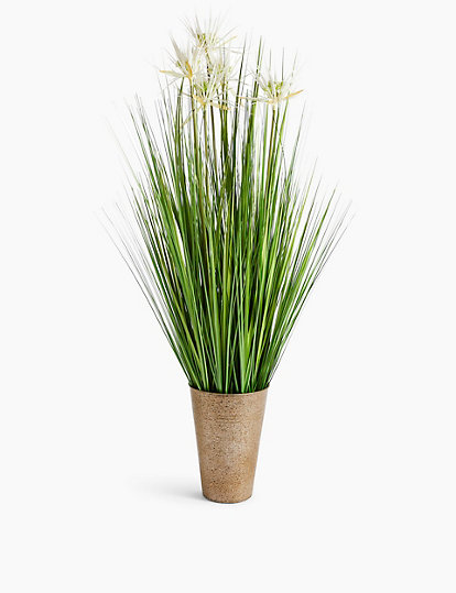 Tall Grass With White Flowers In Tin Pot Artificial Flowers