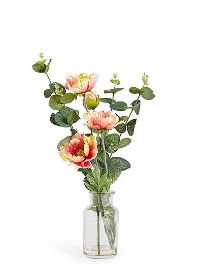 Poppy Bunch In Vase Marks Spencer London